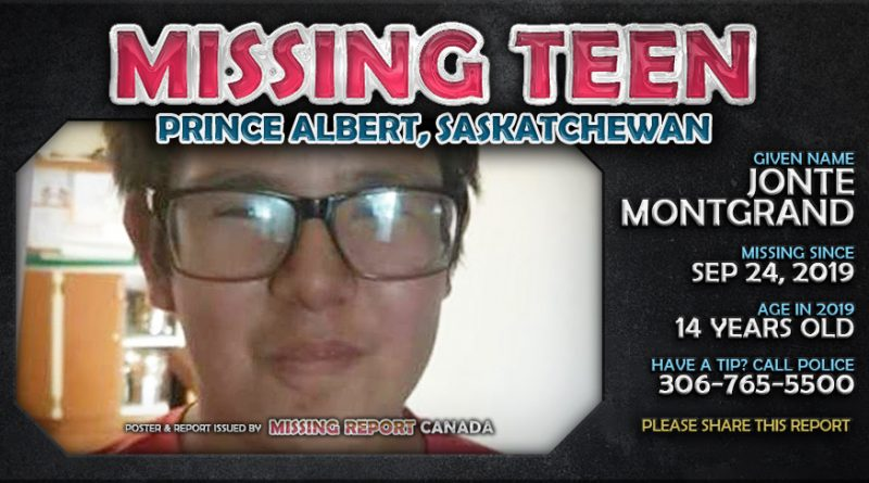MISSING TEEN • Jonte Montgrand • Prince Albert, Saskatchewan • 14 Years Old