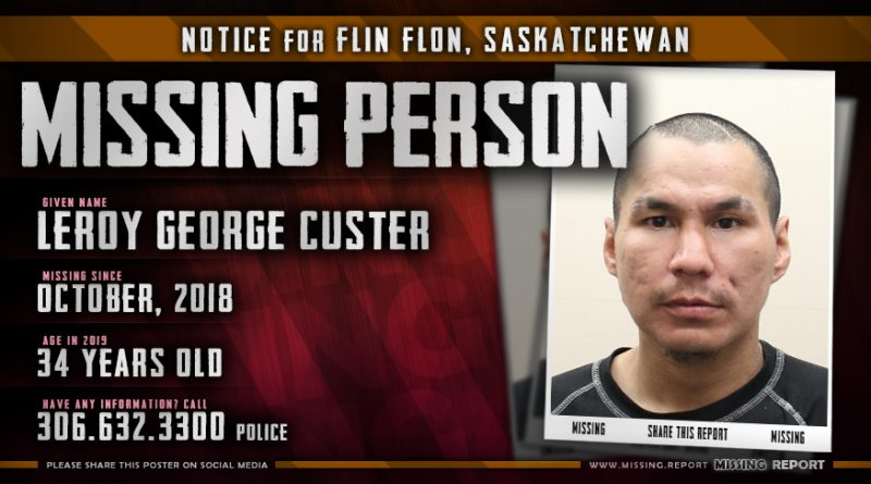Leroy George Custer Missing Person Flin Flon Saskatchewan Canada Poster
